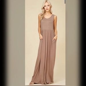 Dresses & Skirts - JUST IN! Racer Back Pleated Loose Solid Long Dress